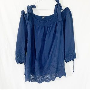Lucky Brand - Navy blue, adorable eyelet material